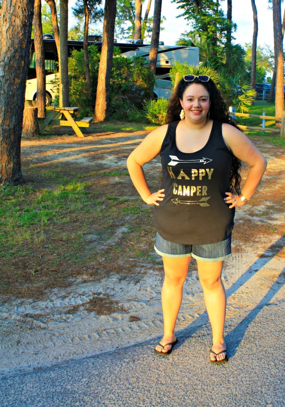 Happy Camper Gold Metallic Summer Camping Women's Tank Top in Blue, White, Black & Grey in Sizes Small-4X