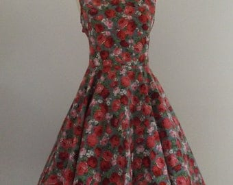 1950's style floral dress with open back detail