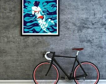 Swimming Pool, Digital art, illustration print.