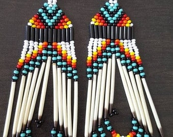 Dangle earrings with Porcupine Quills