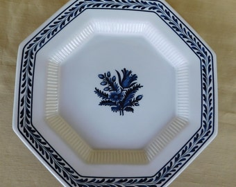 Vintage Independence Ironstone Blue Tulip Dinner Plate