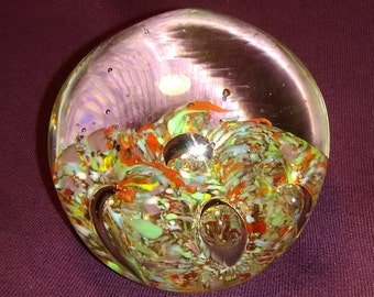 Blown Glass Confetti and Bubbles Paperweight