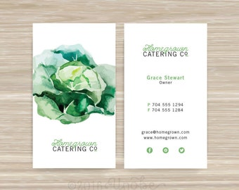 Chef, Caterer, Catering, Nutritionist, Business Card, Vistaprint, 3.5 x 2, Beet, Lettuce, Onion, Carrot, Peas, Eggplant, Pepper, Radish