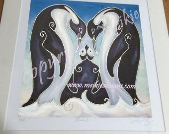 Penguin Family Print - Penguin Print from Original Silk Painting - Penguin Parents & Penguin Baby - Penguins on the Ice - Children's Bedroom