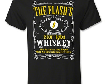 The Flash Star Labs Whiskey T shirt Multi Coloured Black Unisex T-shirt Fan Tee