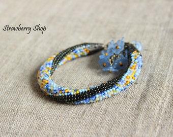 """Bead Crochet Bracelet """"Spring Flowers"""""""