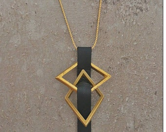 Tribal Necklace/brass pendant / modern jewelry / handmade jewelry / african jewelry /  long chain / black chain / eco friendly jewelry