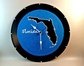 Wall clock, Florida, Vinyl clock, Florida map, Travel clock, Florida clock, Florida state map, Wall art, Home Decor, MiniDotClocks