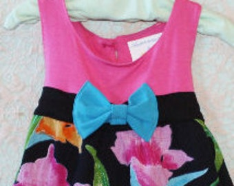 Girls Hawaiian Dress, Little Girl Dress, Girls spring dress, Girls black dress, Tropical, Toddler dress, Boutique Dress, Girls Floral Dress