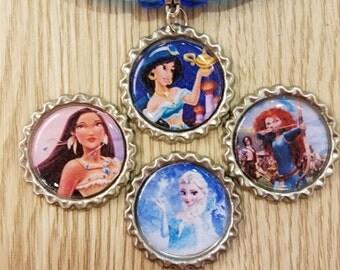 10 Blue Necklaces Party Favors. Pocahonta, Jasmine, Elsa, Merida