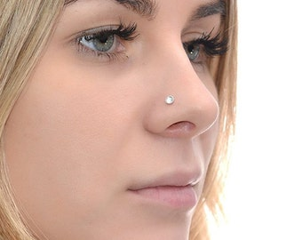 Silver 3mm Topaz Nose Stud 16g / Tragus Stud, Cartilage Stud, Nose Hoop / Forward Helix Earring, Tragus Earring, Nose Piercing, Nose Ring
