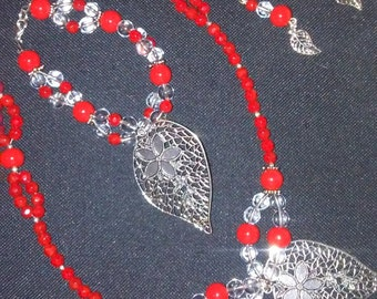 Red and Silver Leaf Necklace Set