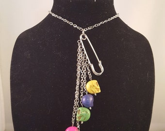 Silver Safety Pin Necklace with Hanging Skull Beads