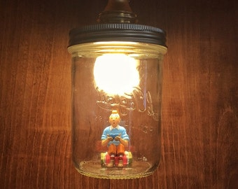 Handmade from recycled sitting Tintin lamp