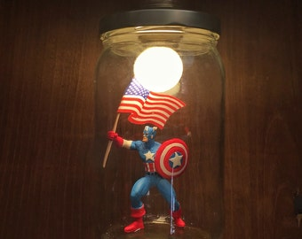 Captain America lamp made with recycled materials