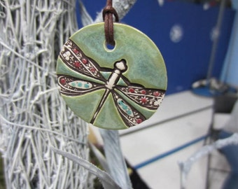 Ceramic  Dragon Fly Diffuser Round Pendant Necklace. Handmade and Hand Glazed.