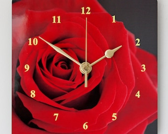 Single Red Rose - Square Wall Clock