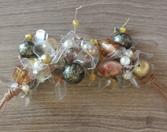 Plastic and glass Pearl Necklace pet rich earth colors