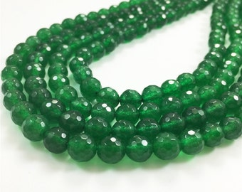 8mm Faceted Green Jade Beads, Gemstone Beads, Wholesale Beads