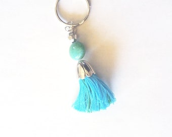 Bright Blue & Green Tassel boho tassel hippie keychain girly key chains  Pretty keychains  boho/hippy key chains  embroidery floss keychains