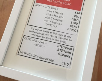 Our first home/new home printed frame - Monopoly style deed card