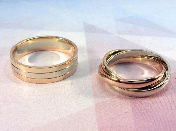 Triple Wedding Bands Modern Wedding Rings By WeddingRingsStore