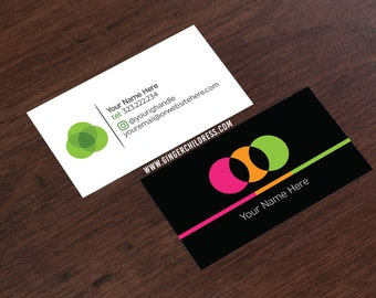 Black Business Card - Dots Business Card - Social Media Business Card - FREE Ground Shipping