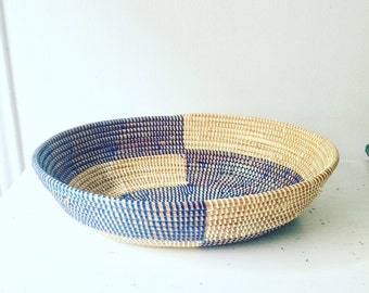 Beautiful Blue Handmade African Artisan Basket