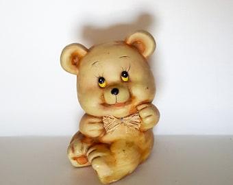 Vintage Teddy Bear Piggy Bank | Ceramic Baby Bear Bank with Bow | Baby Shower Gift | Retro Nursery | New Baby Gift | Kid's Room Decor