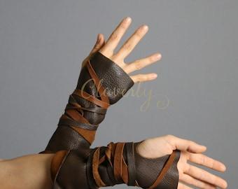 Dark Brown Fingerless Leather Gloves Long / Wonder Woman Post apocalyptic Khaleesi Daenerys Warcraft Burning Man Costume Cosplay LARP SCA