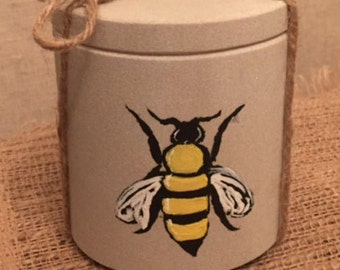 Hand Painted Bee on  Sandstone Canister- Off White