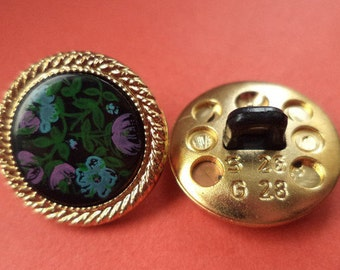10 buttons gold colored 17mm (2356) Flower button