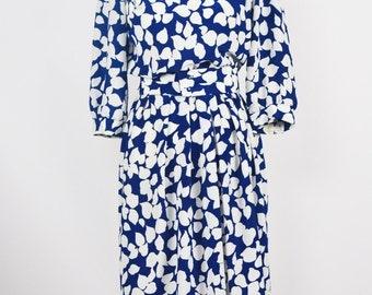 1980's Breli Navy and White Day Dress