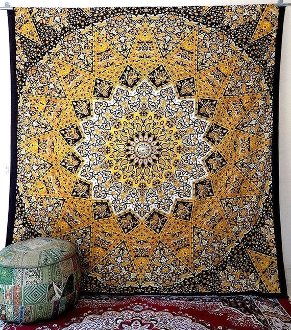 Cotton Large Fabric Star Mandala Yellow Tapestry by ...