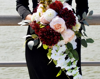Wedding Bouquet SAMPLE, Asymmetrical Bridal Bouquet, Burgundy Alternative Bouquet, Fall Wedding Bouquet, Wedding Bouquet