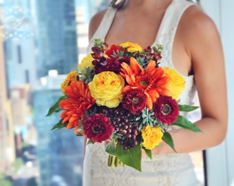 Fall Wedding Bouquet, Orange Bridal Bouquet, Fall Flowers, Realistic Silk Flowers, Gerbera Wedding Bouquet