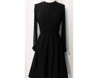 CLEARANCE! Black 50s Dress with Sheer Sleeves