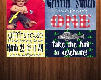 First Birthday Fish Invitation, Boy birthday party, Fisherman birthday invitation, Boy Birthday invitation
