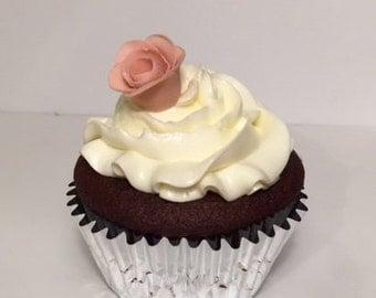 Cupcake toppers - Gum paste mini roses - Set of 12