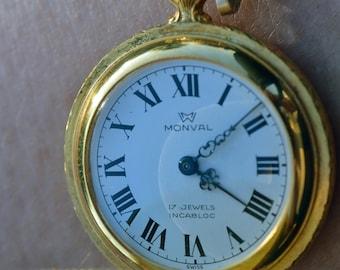 MONVAL Swiss Made Ladies Pocket Watch - Pendant