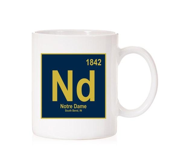 Notre Dame University Periodic Style Mug | Notre Dame Fighting Irish | South Bend IN |  ND | Dark Theme
