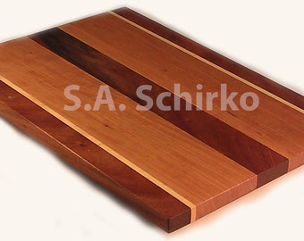 Large Handcrafted Cherry, Mahogany and Maple Wood Cutting Board