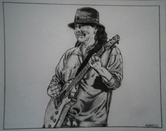 "Carlos Santana print  8""x10"" signed and numbered by the artist"