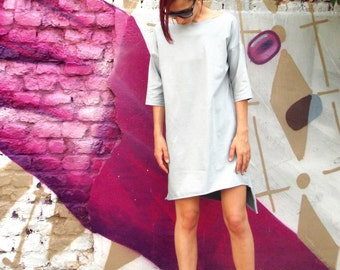 Asymmetric Loose Fit Minimalist Oversized Women's Dress/Casual Artistic High Low Tunic