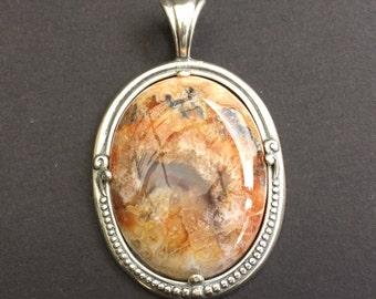 Pendant1E, sterling silver, agate