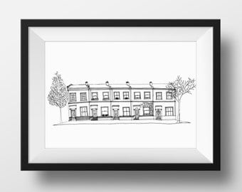 London Terrace Houses Fine Art Giclee Print- Limited Edition
