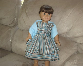 """American Girl or 18"""" Doll  Striped sundress with shawl"""