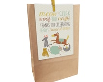 Kids Birthday printed FARM ANIMALS Paper Party Bags with Peg. Matching invitations available.
