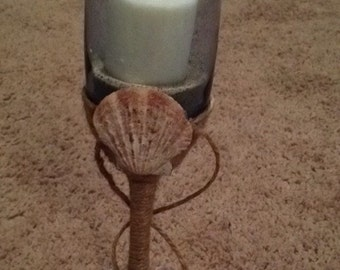 Shell wine glass candle holder