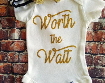 Worth the Wait onesie, new arrival onesie, take home outfit, new baby outfit, hospital outfit, newborn outfit, gold glitter,